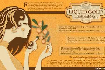 Liquid Gold from Morocco, the Numerous Benefits of Argan Oil Infographic