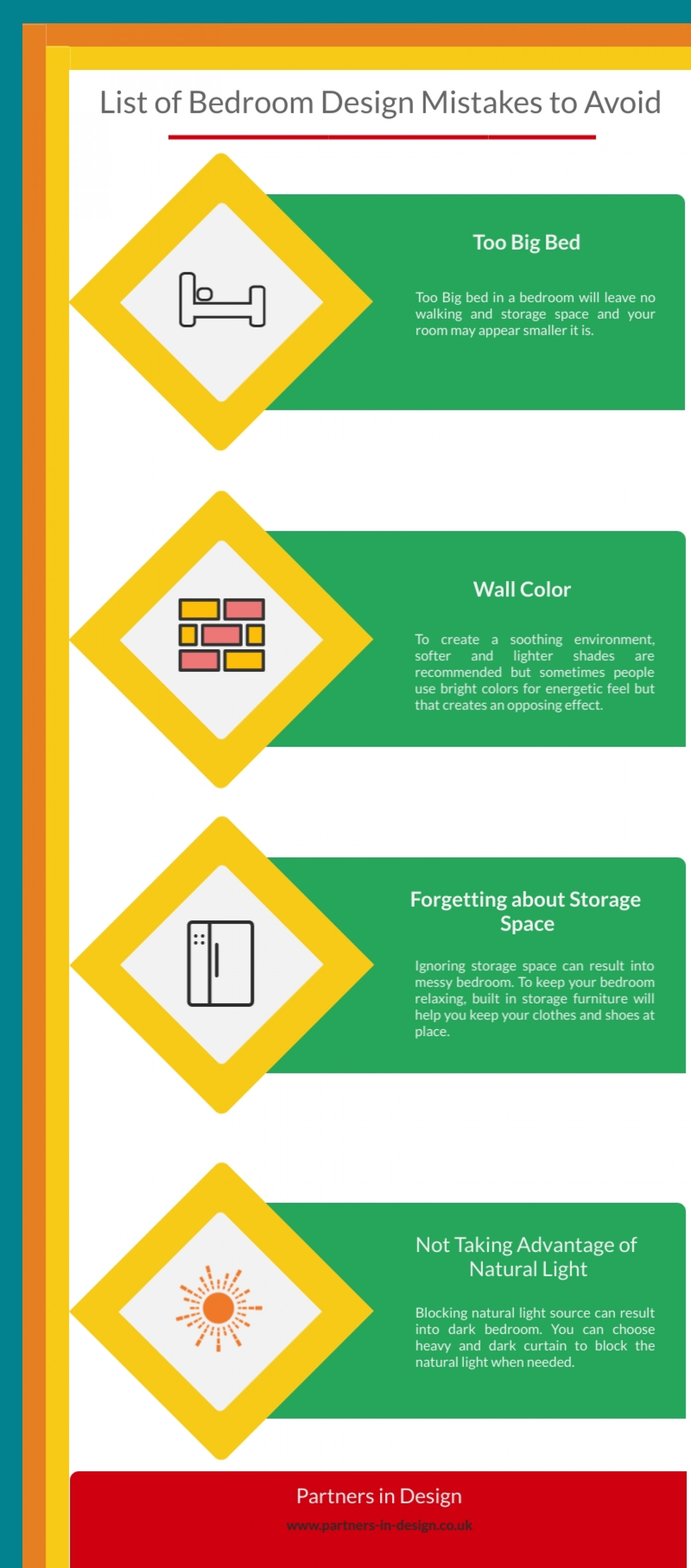 List of Bedroom Design Mistakes to Avoid Infographic
