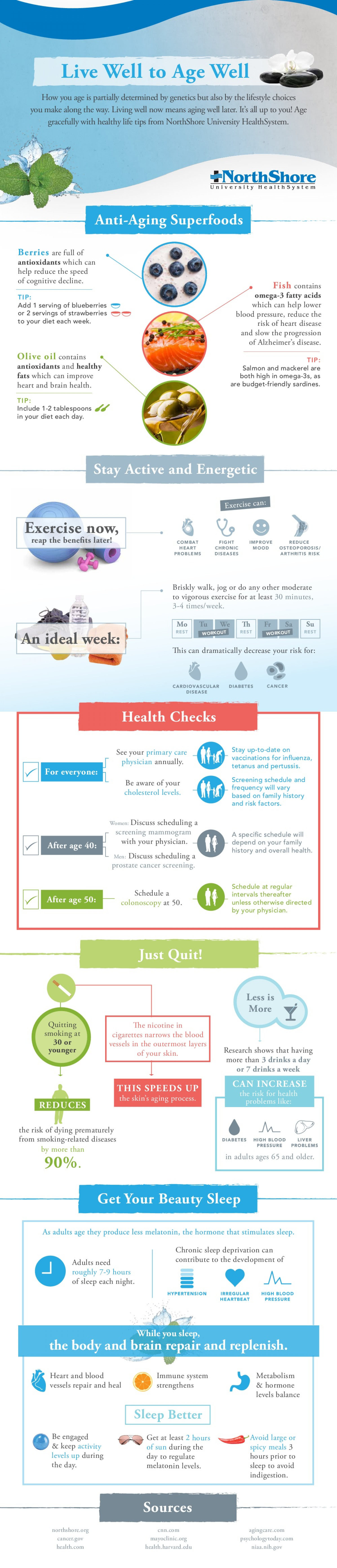 Live Well to Age Well: Healthy Aging Tips Infographic
