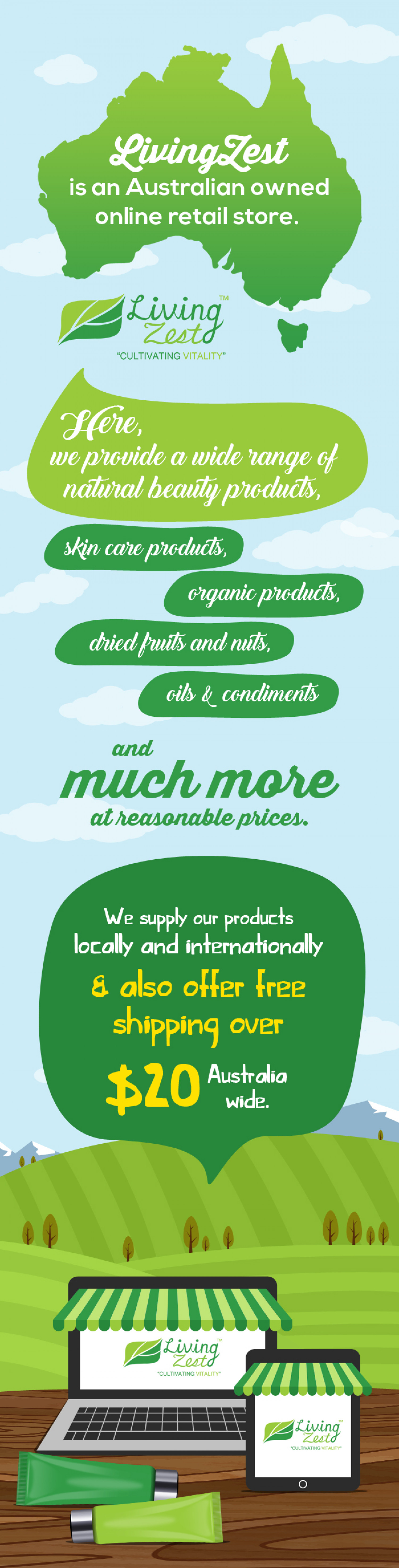 LivingZest - An Online Store for Organic, Beauty & Skin Care Products Infographic