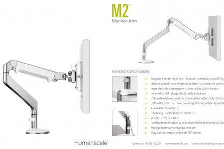 M2 Monitor Arms | Humanscale | India Infographic