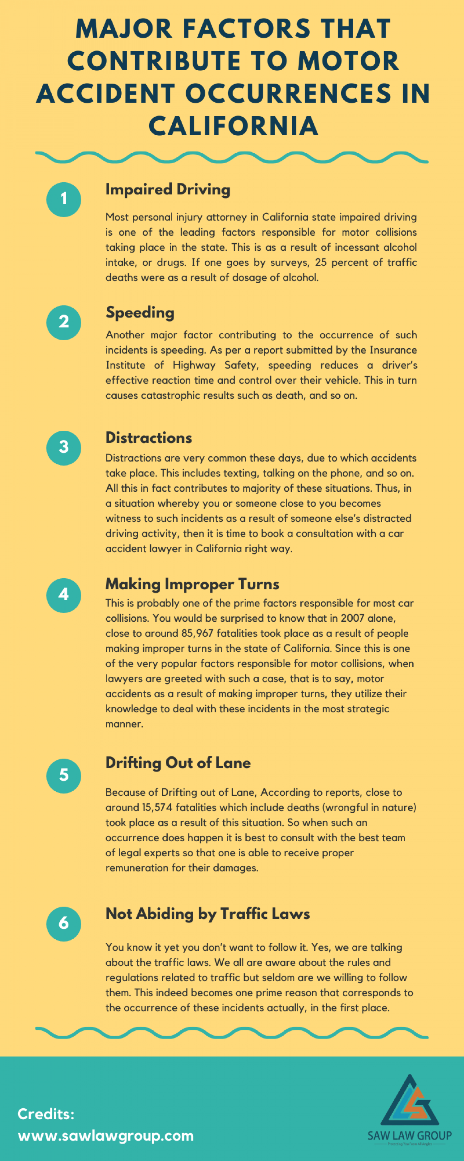 Major Factors that Contribute to Motor Accident Occurrences in California Infographic