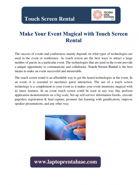 Make Your Event Magical with Touch Screen Rental Infographic