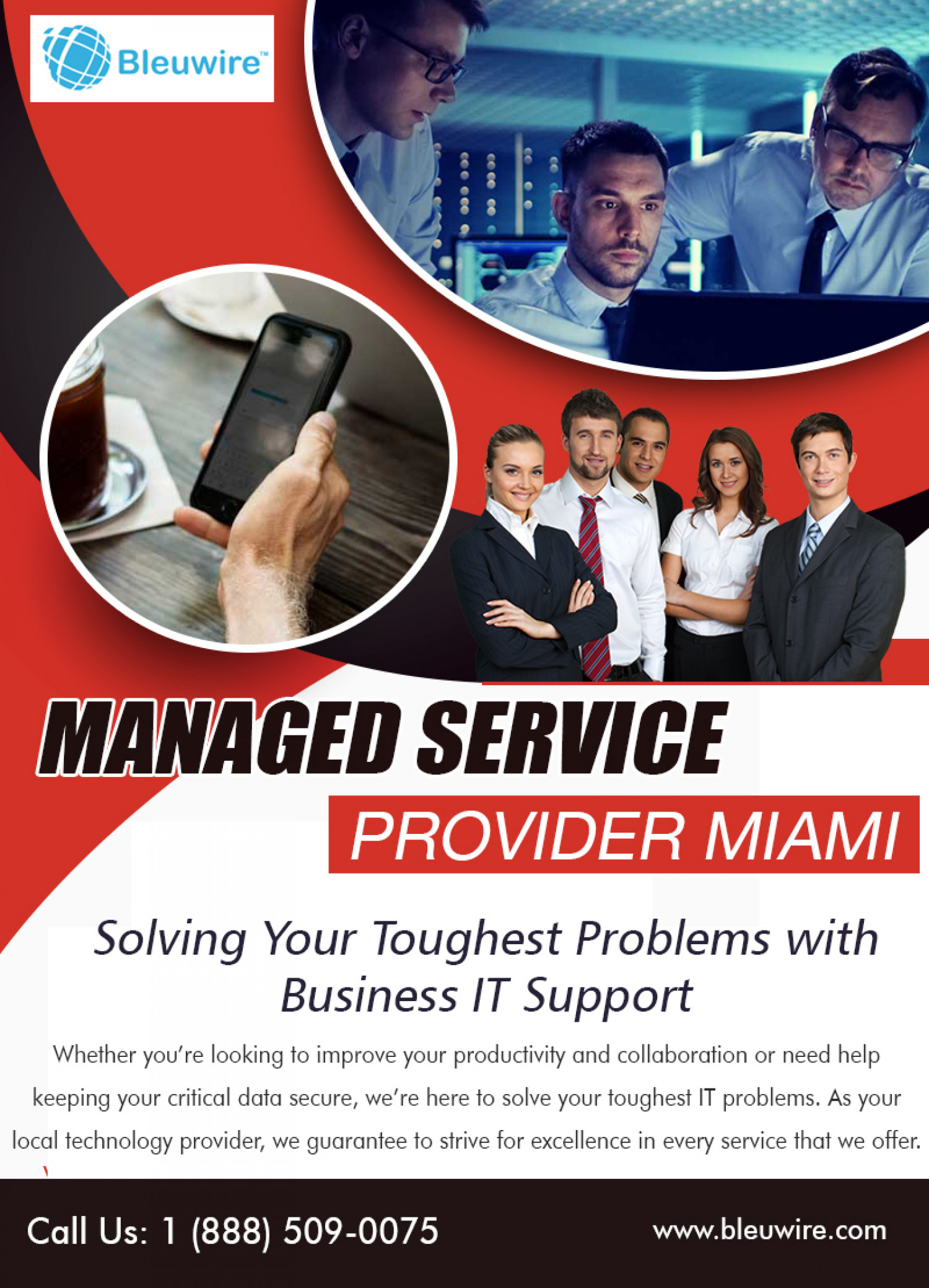 Managed Service Provider Miami | Call: 1-888-509-0075 | bleuwire.com Infographic