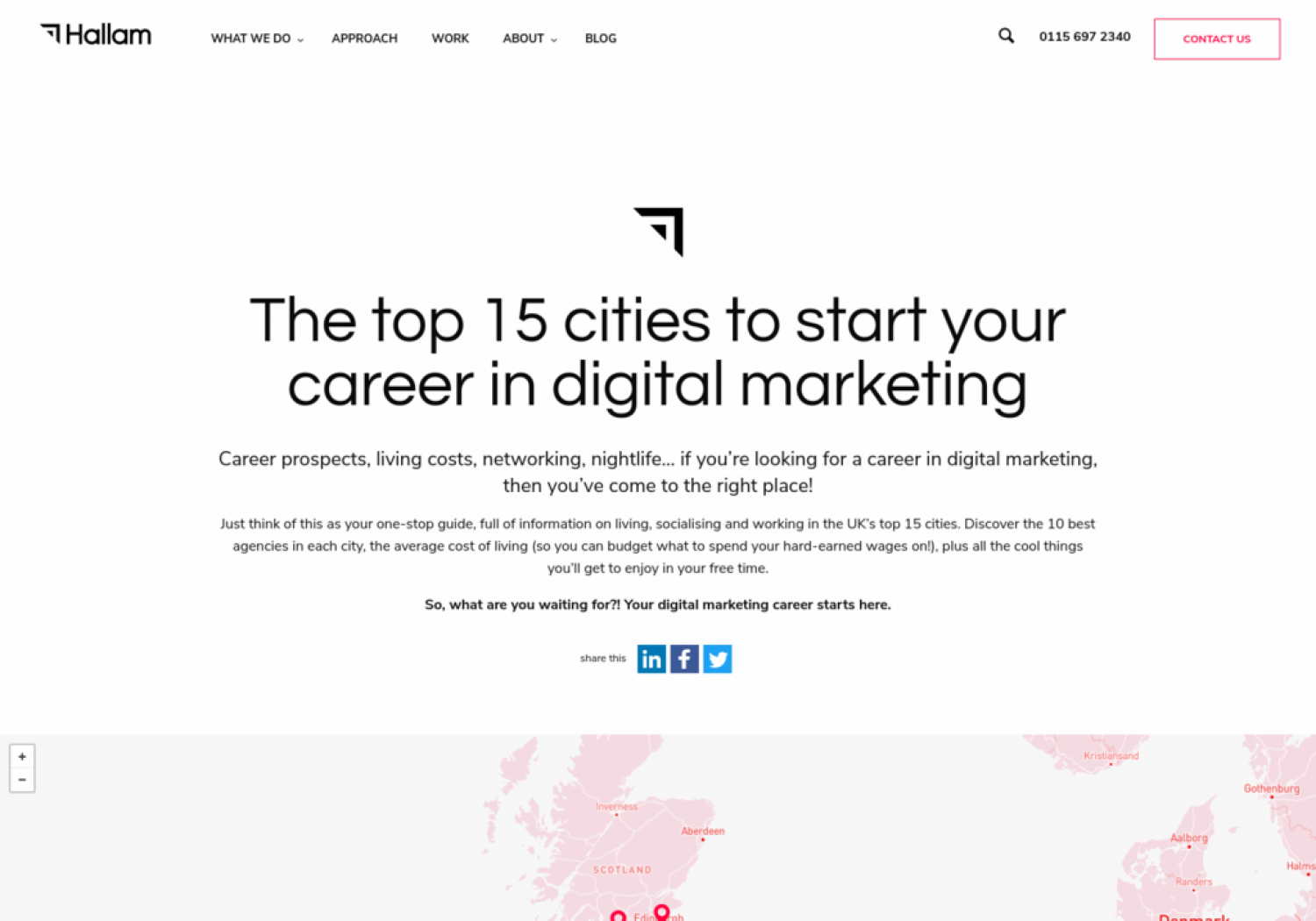 MAP - The top 15 cities to start your career in digital marketing Infographic