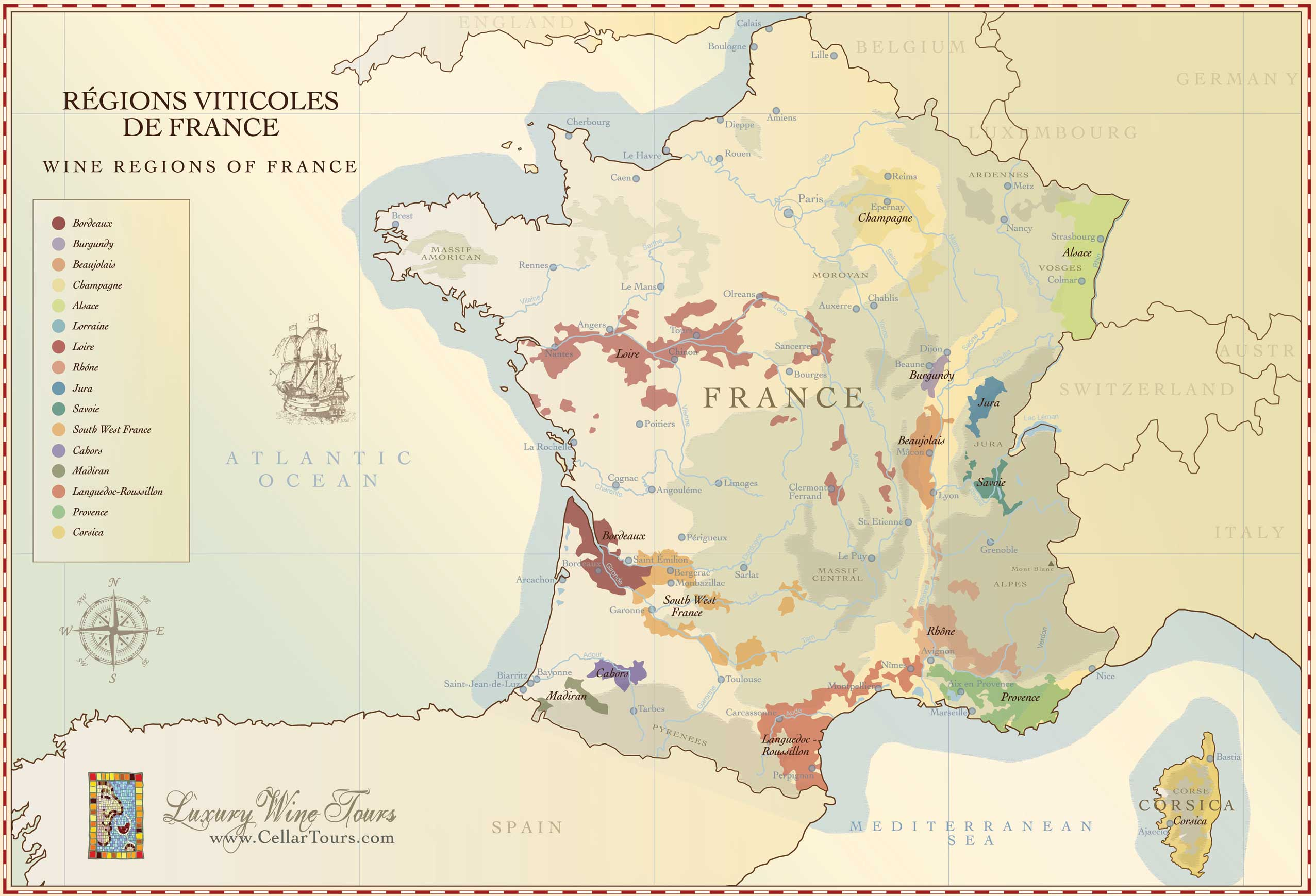 Map of French Wine Regions Visually