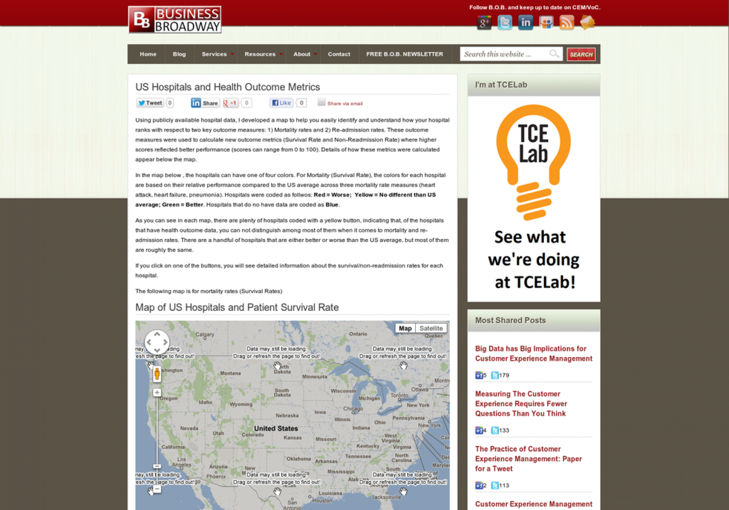 Map of US Hospitals and Health Outcome Metrics Infographic