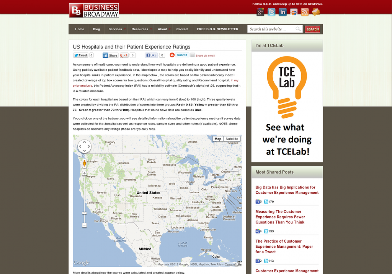 Map of US Hospitals and their Patient Experience Ratings Infographic