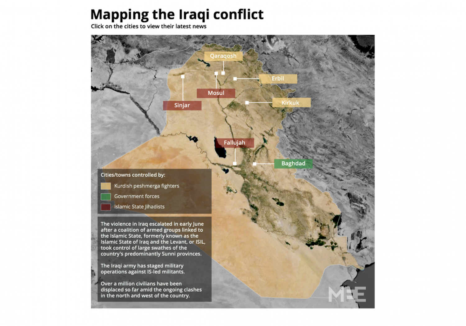 Mapping the Iraqi conflict Infographic
