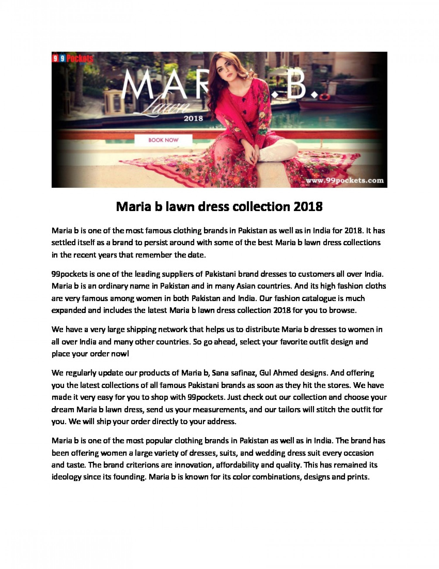 Maria b lawn dress collection 2018 Infographic