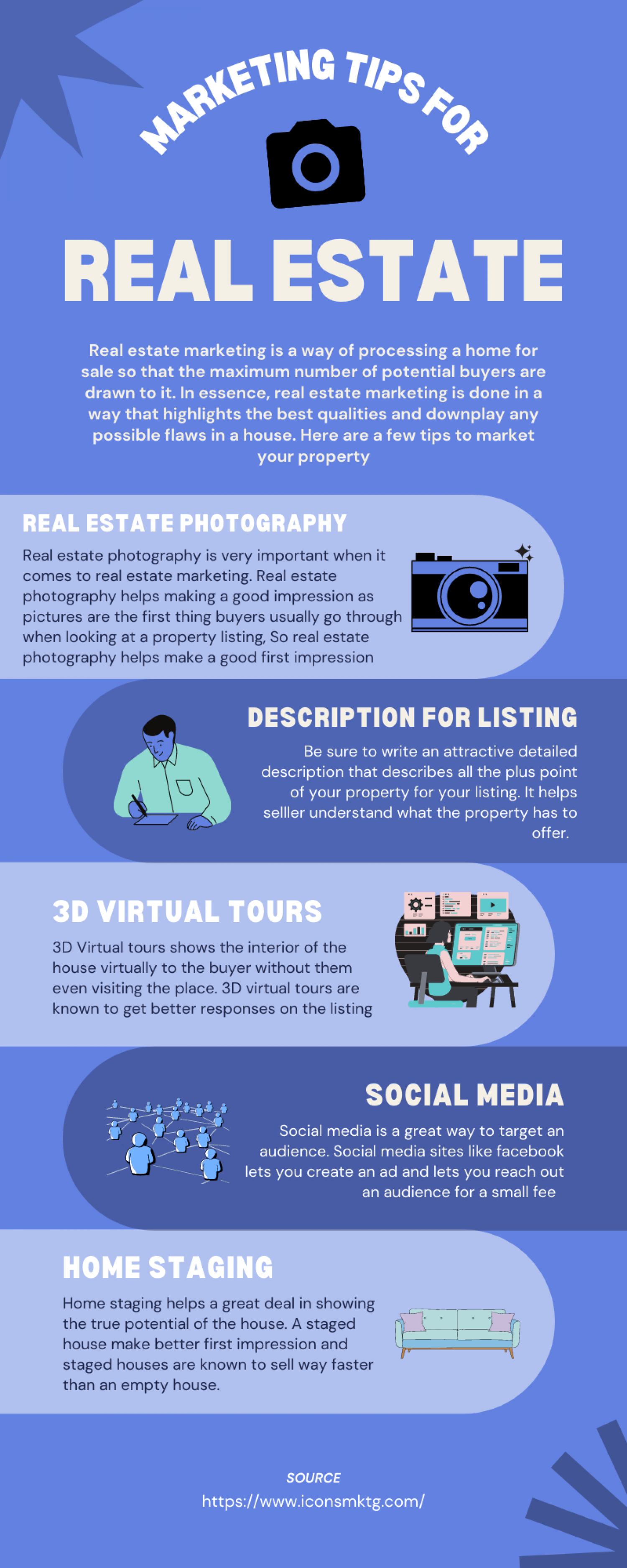Marketing tips for real estate Infographic