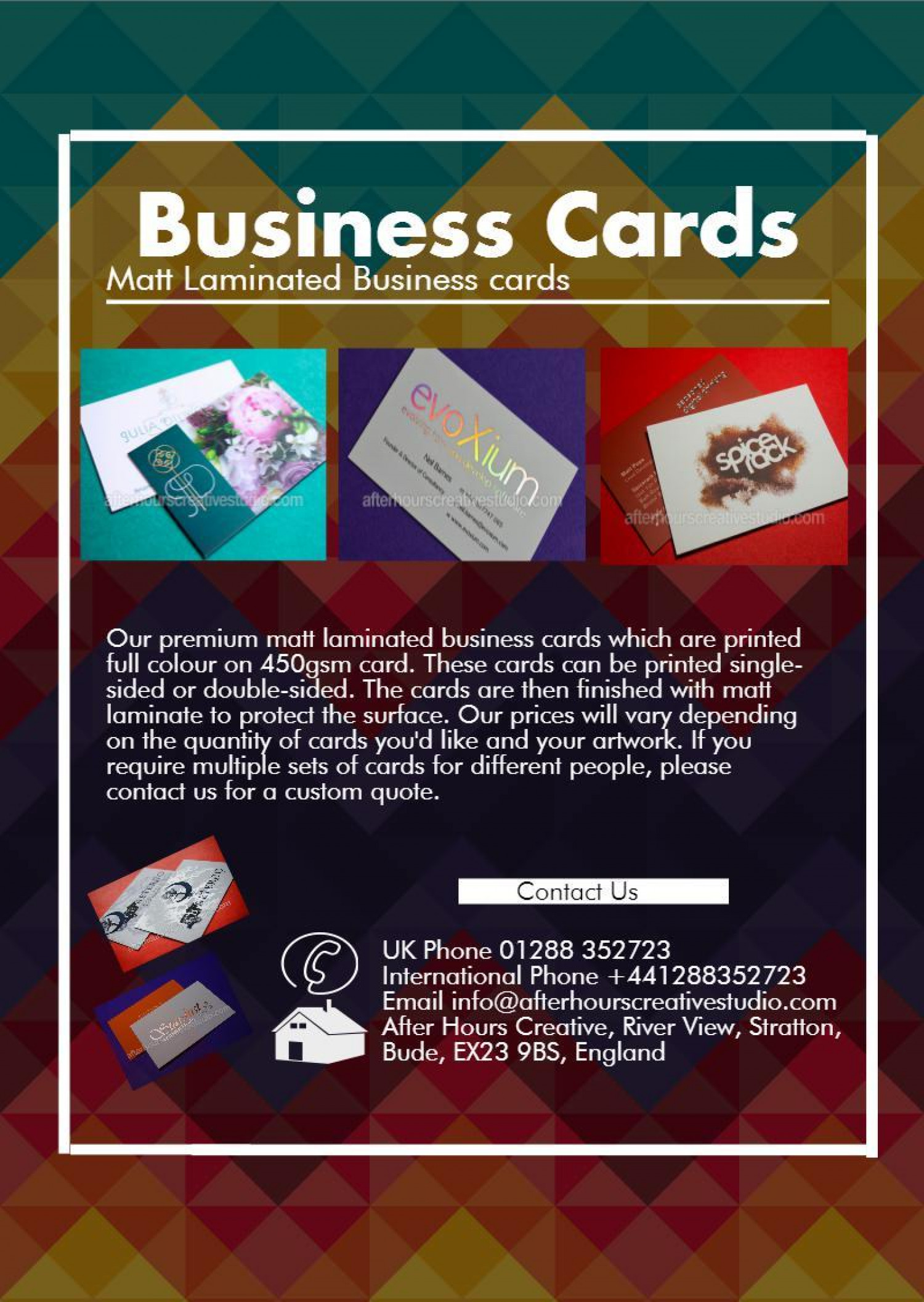 Matt Laminated Business Cards Made Easy  from only  £20.00 Infographic