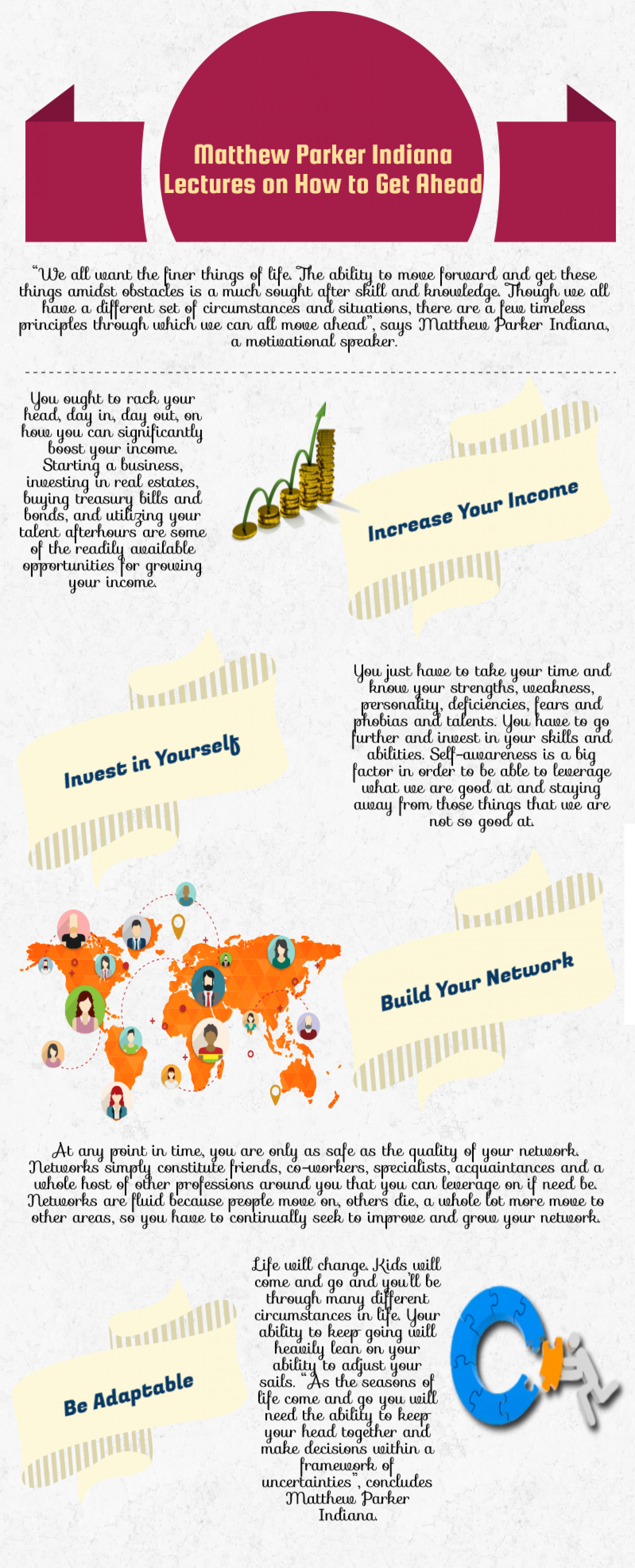Matthew Parker Indiana Lectures on How to Get Ahead Infographic