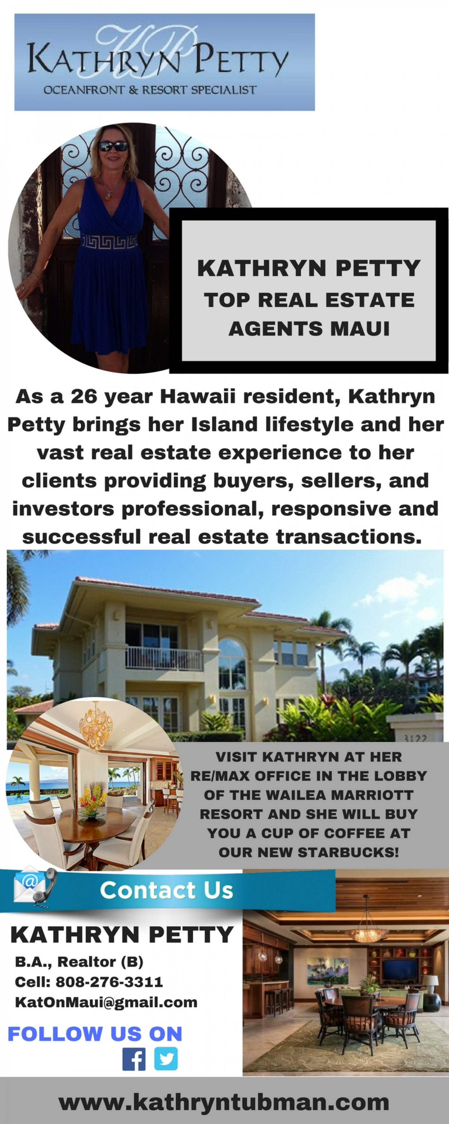 Maui Beachfront & Oceanfront Real Estate Specialist Kathryn Tubman Infographic
