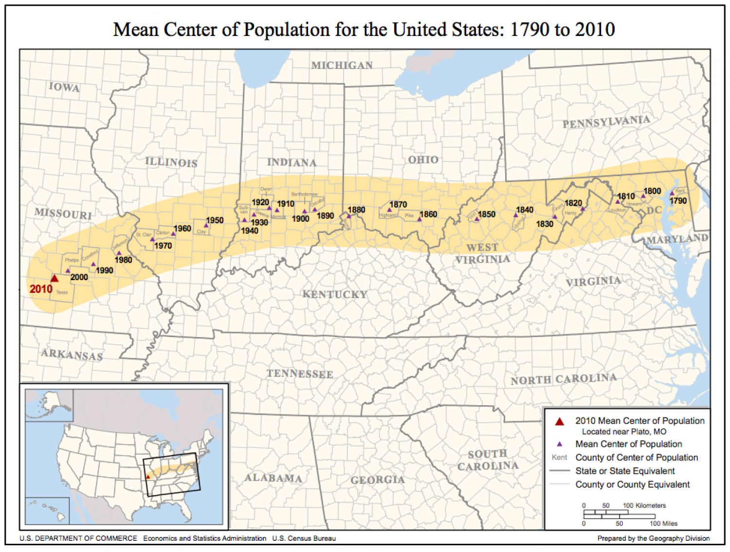 Mean Center of Population for the United States:  1790 to 2010 Infographic