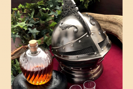 Medieval Knights Helmet Decanter Set Infographic