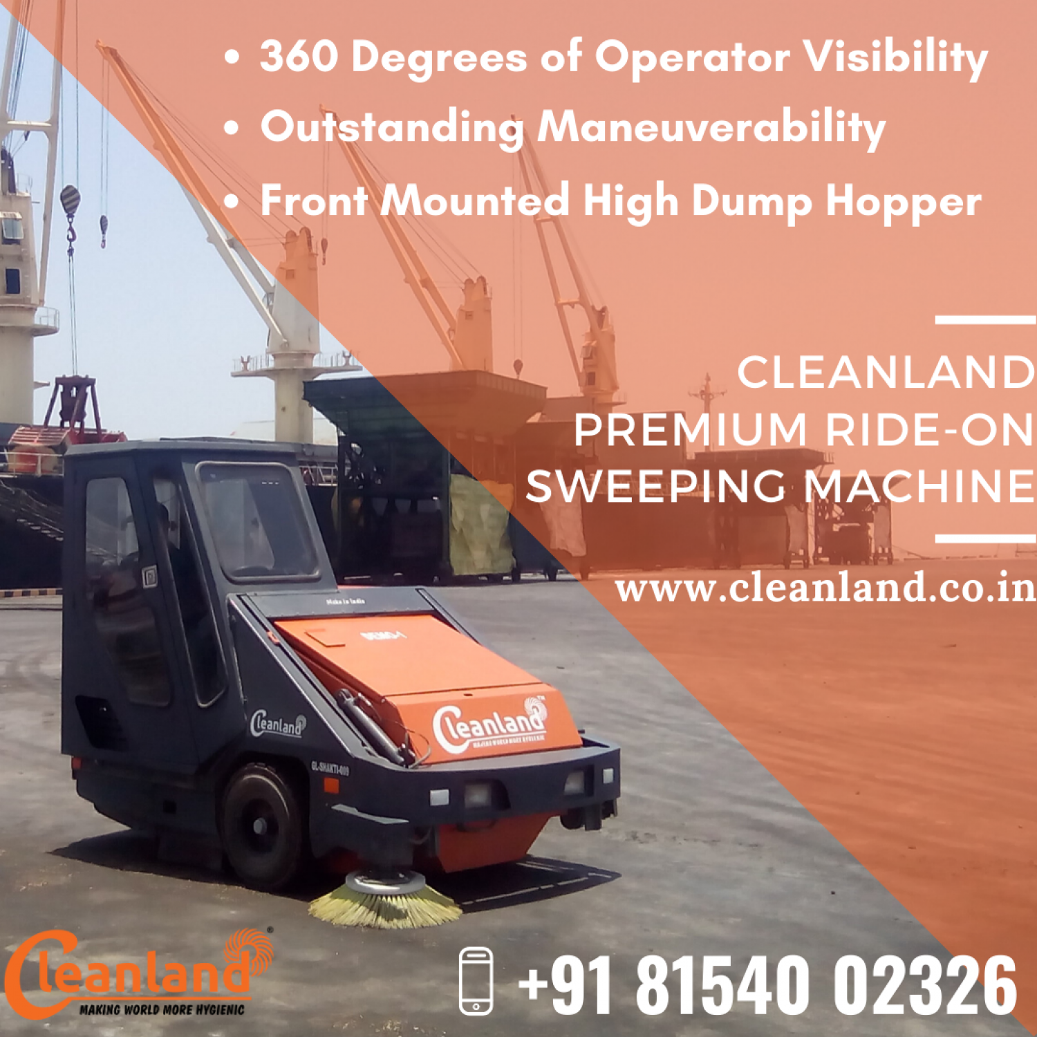 Meet the highest sweeping standards with CLEANLAND Premium Ride-On Sweeping Machine Infographic