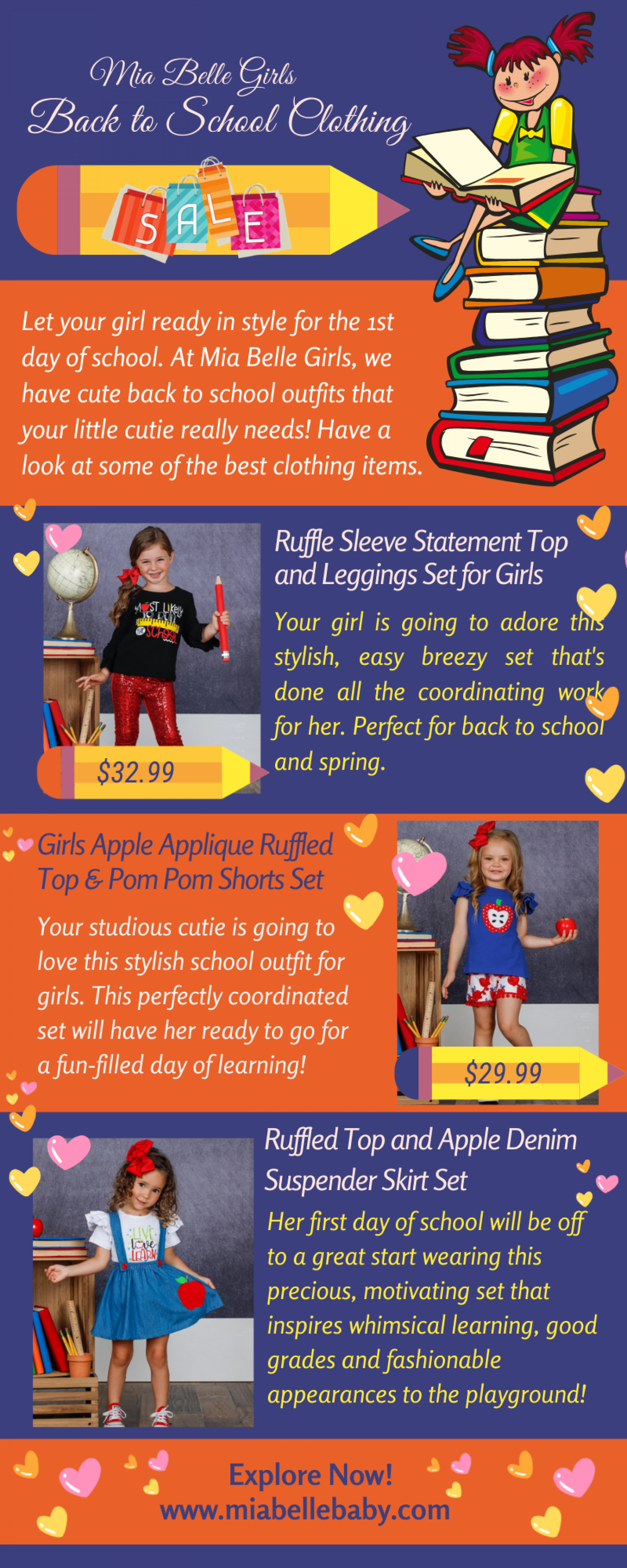 Mia Belle Girls School Outfits Online Infographic