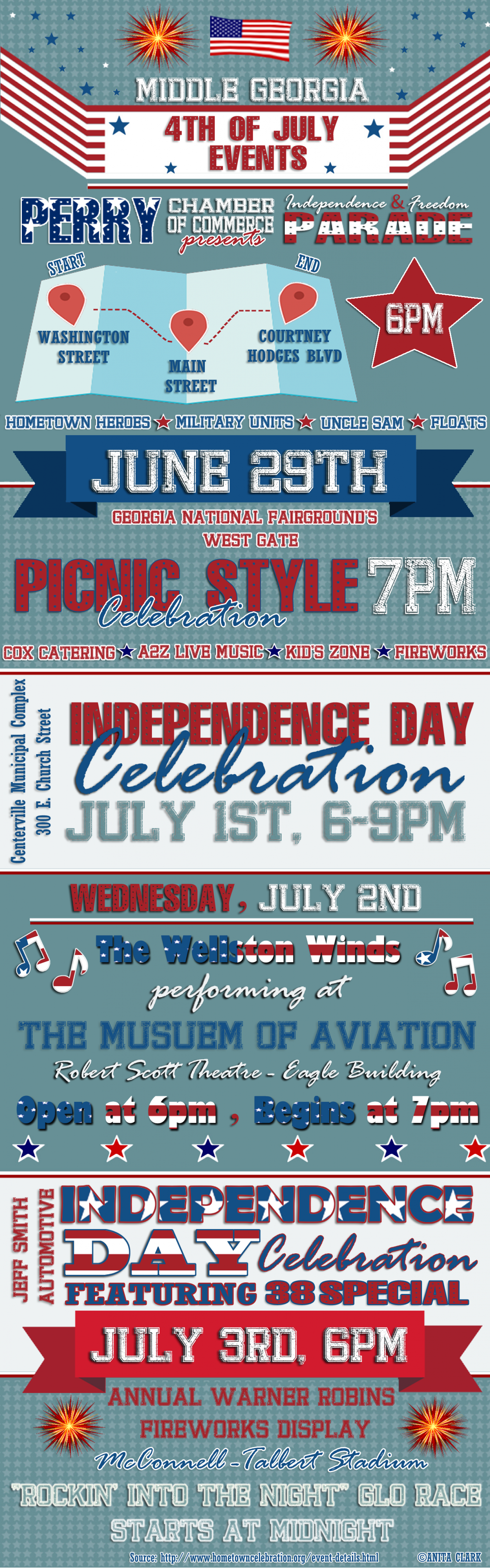 Middle Georgia 4th of July Events Infographic