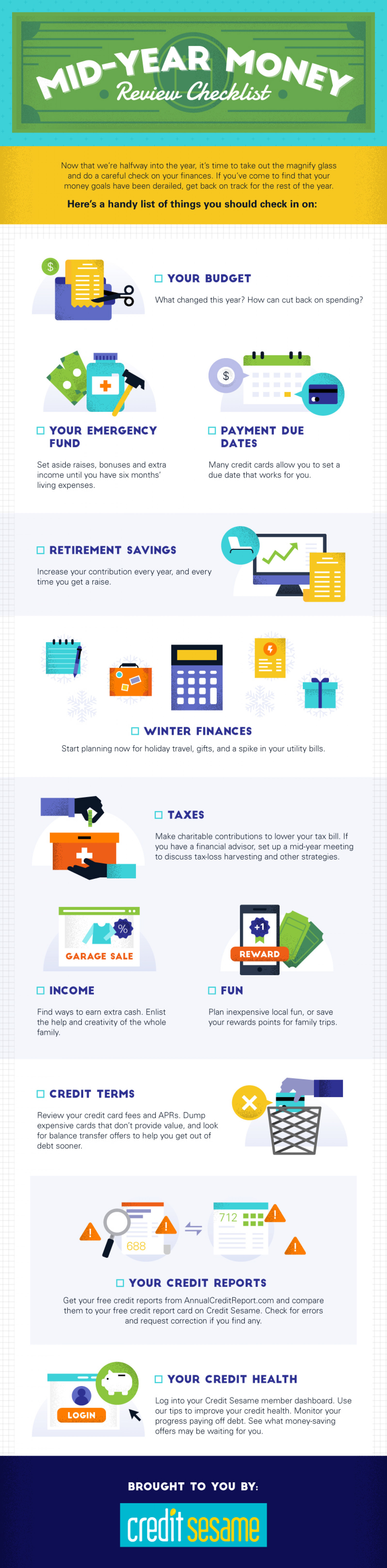 Mid-Year Money Review Checklist Infographic