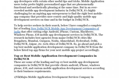 Mobile Application Development Companies in Delhi/NCR Infographic