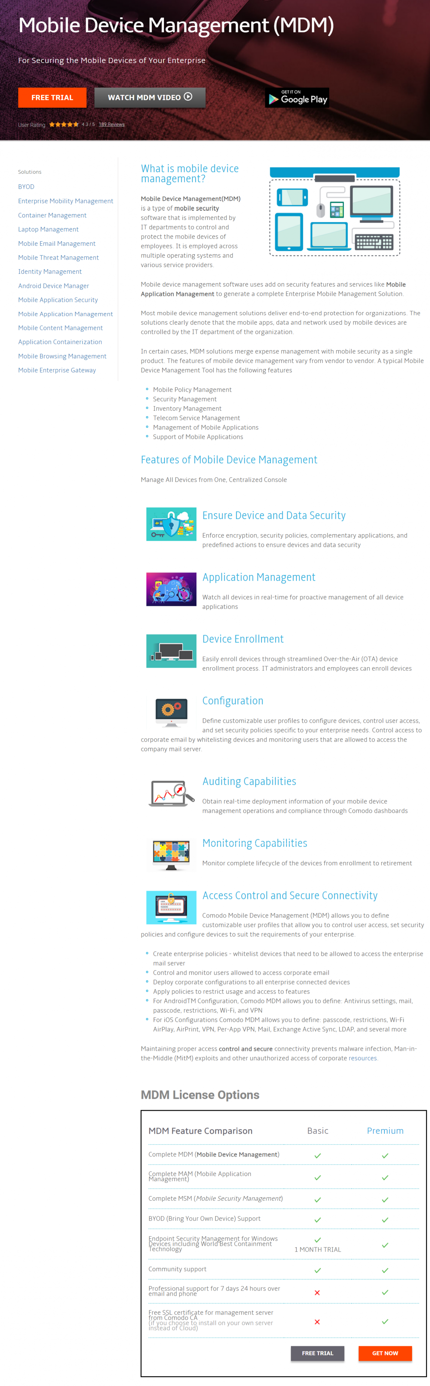 Mobile Device  Management - For Enterprise Mobility Solutions Infographic