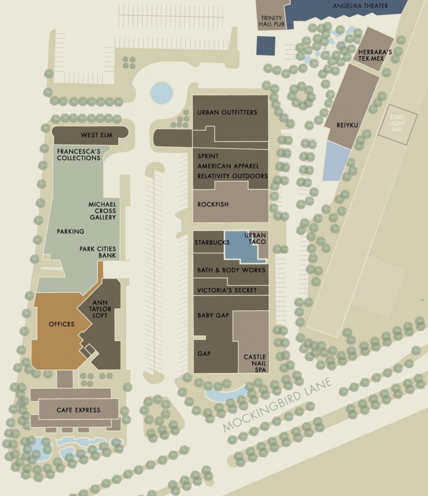 Visual Site Map: Mockingbird Station Retail Site Map