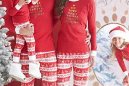 Mommy & Me Red Candy Cane Striped Pajamas for Christmas Infographic