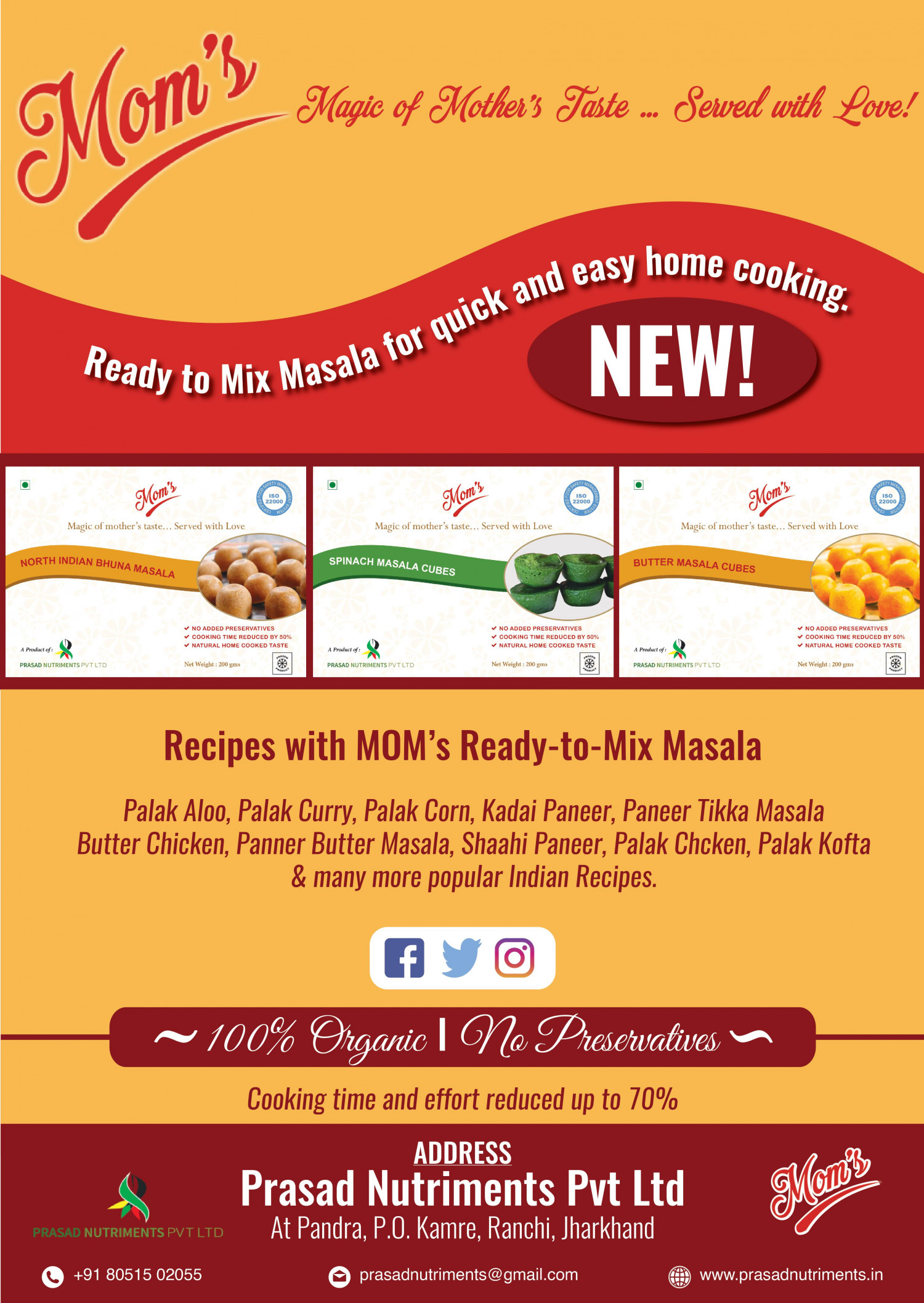 MOM's Ready-To-Mix Masala | Quick Meals & Effortless Cooking Infographic