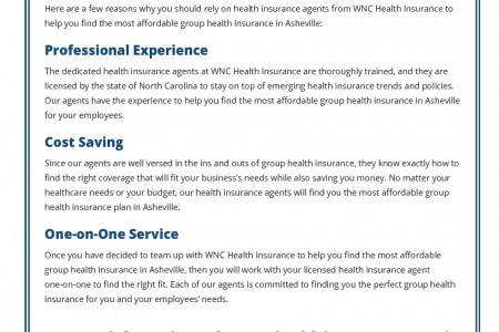 Most Affordable Group Health Insurance in Asheville Infographic