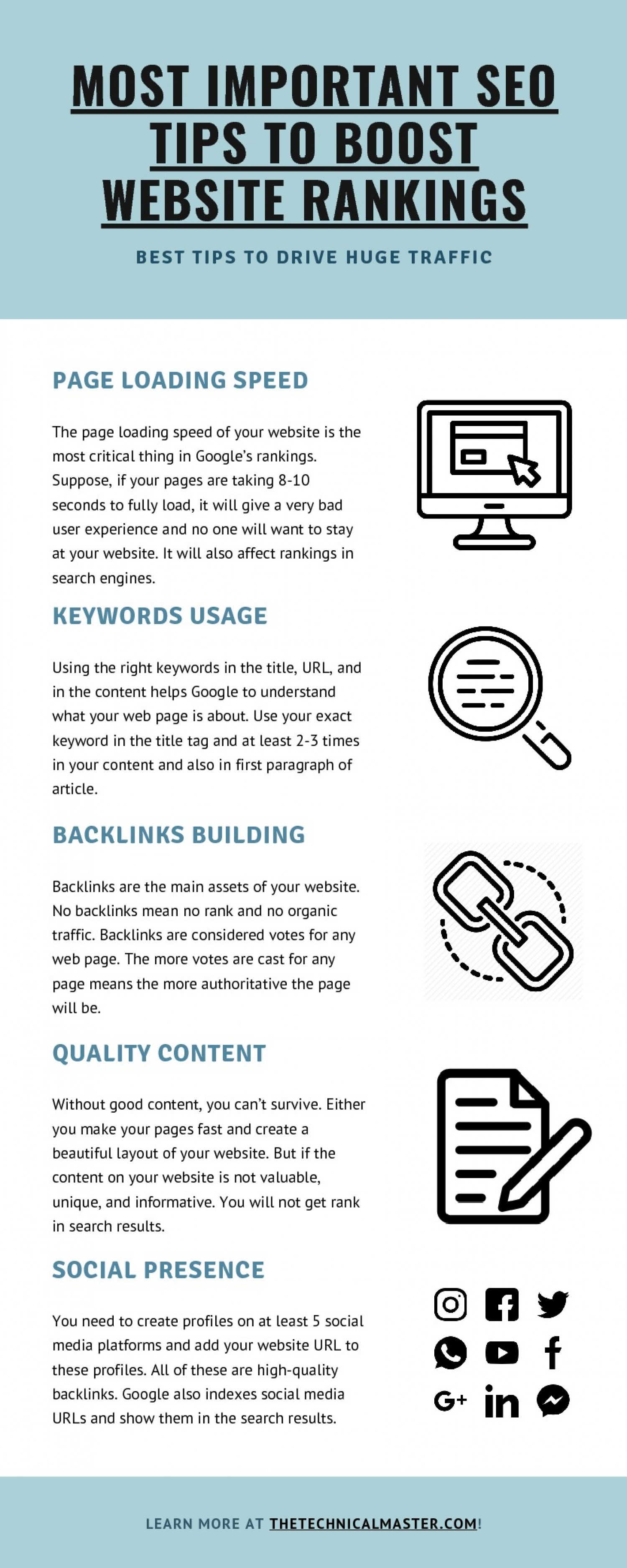 Most Important SEO Tips to Boost Your Website's Rankings Infographic