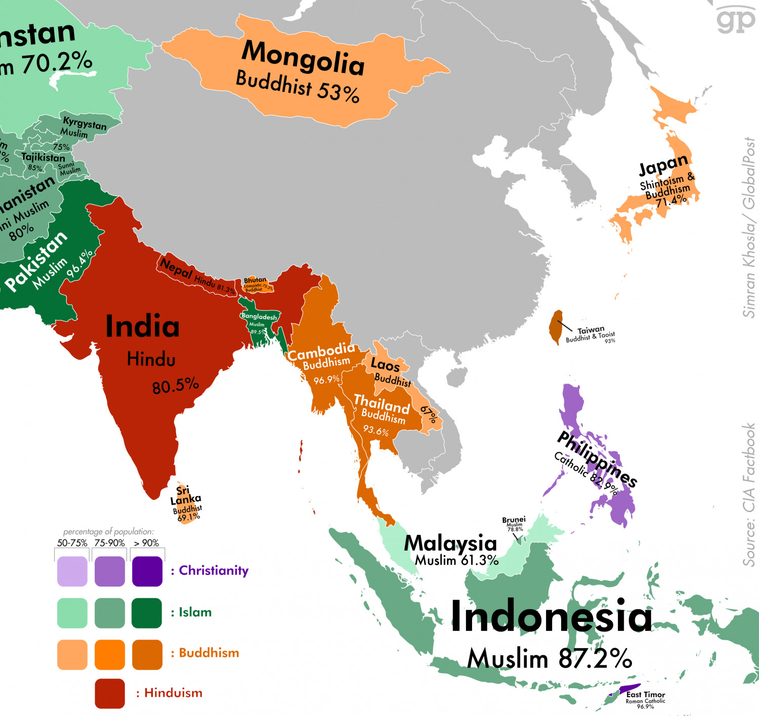 Most Religious Places: Asia Infographic