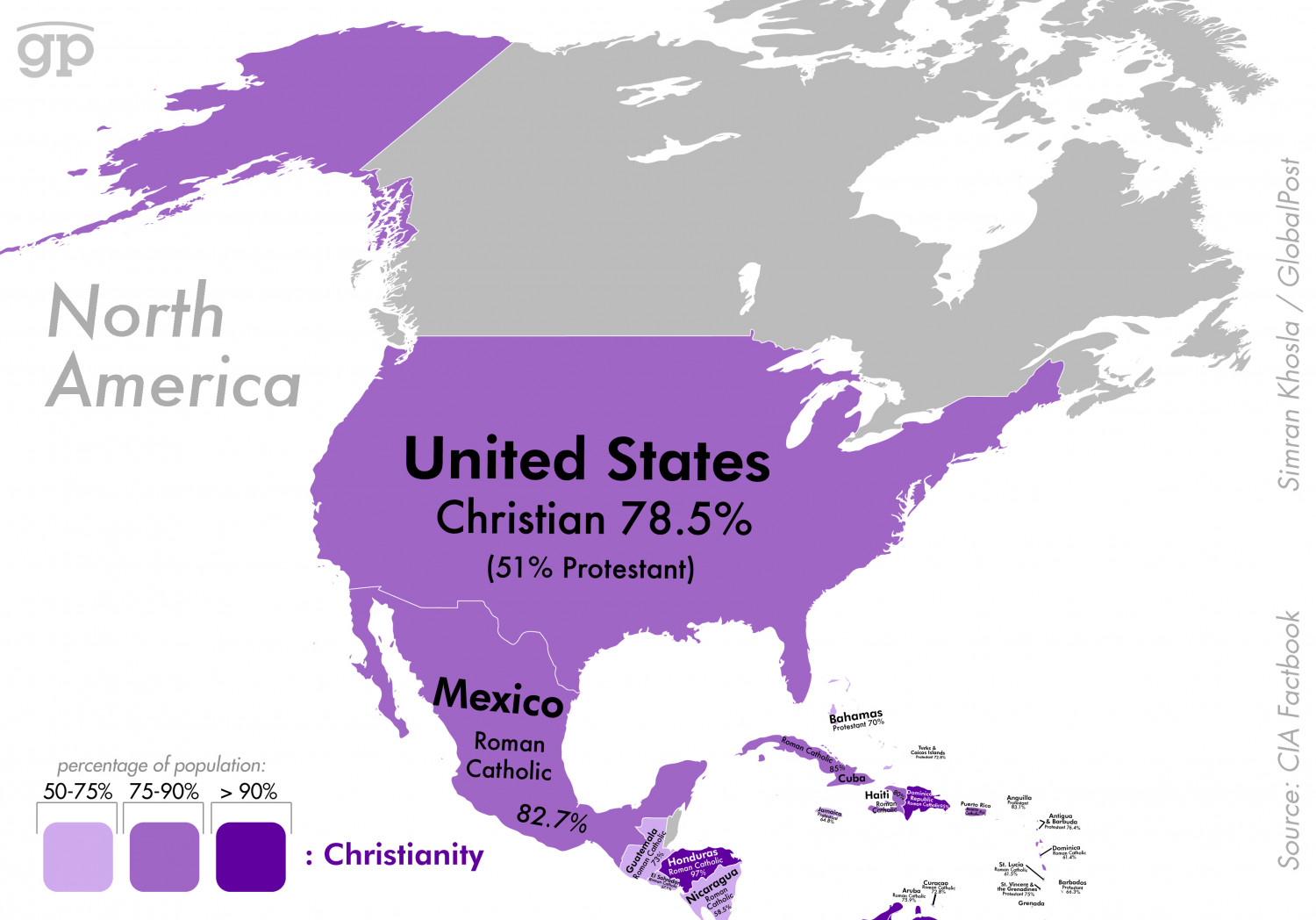 Most Religious Places: North America Infographic