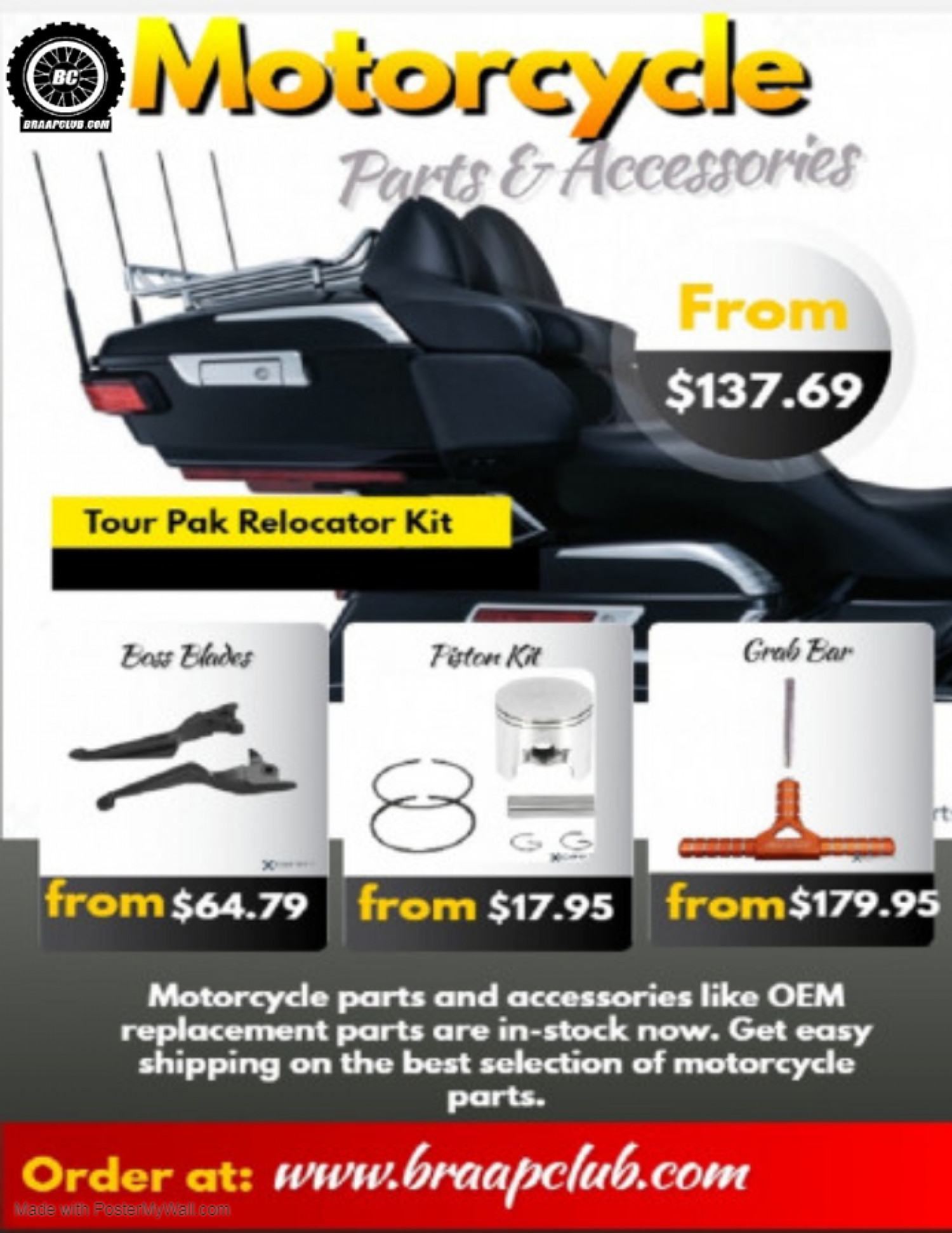 Motorcycle parts and Accessories Infographic