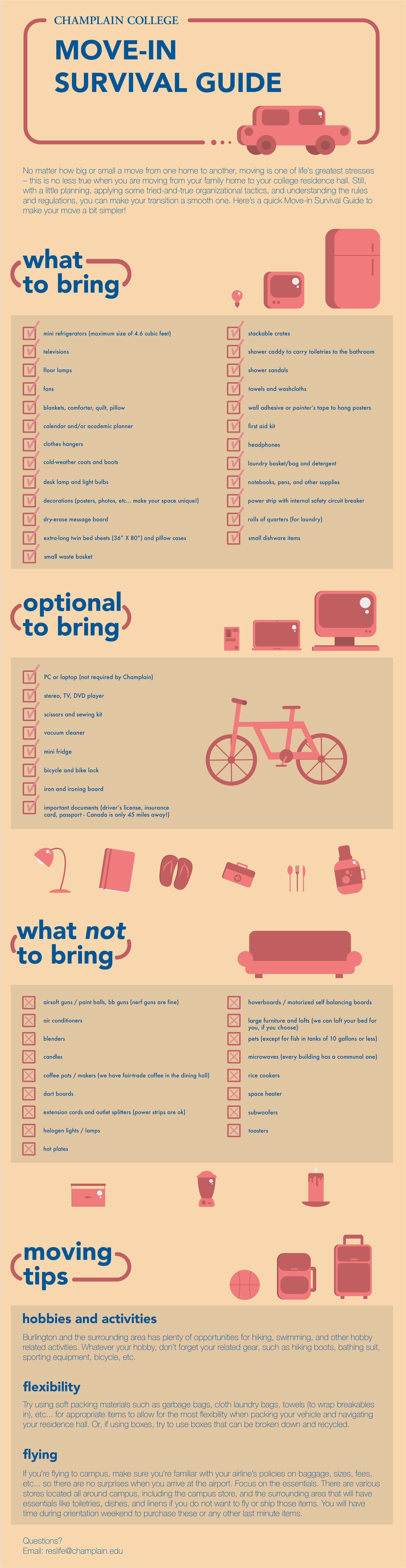 Infographic with items to bring to campus, items to leave at home, and packing tips.