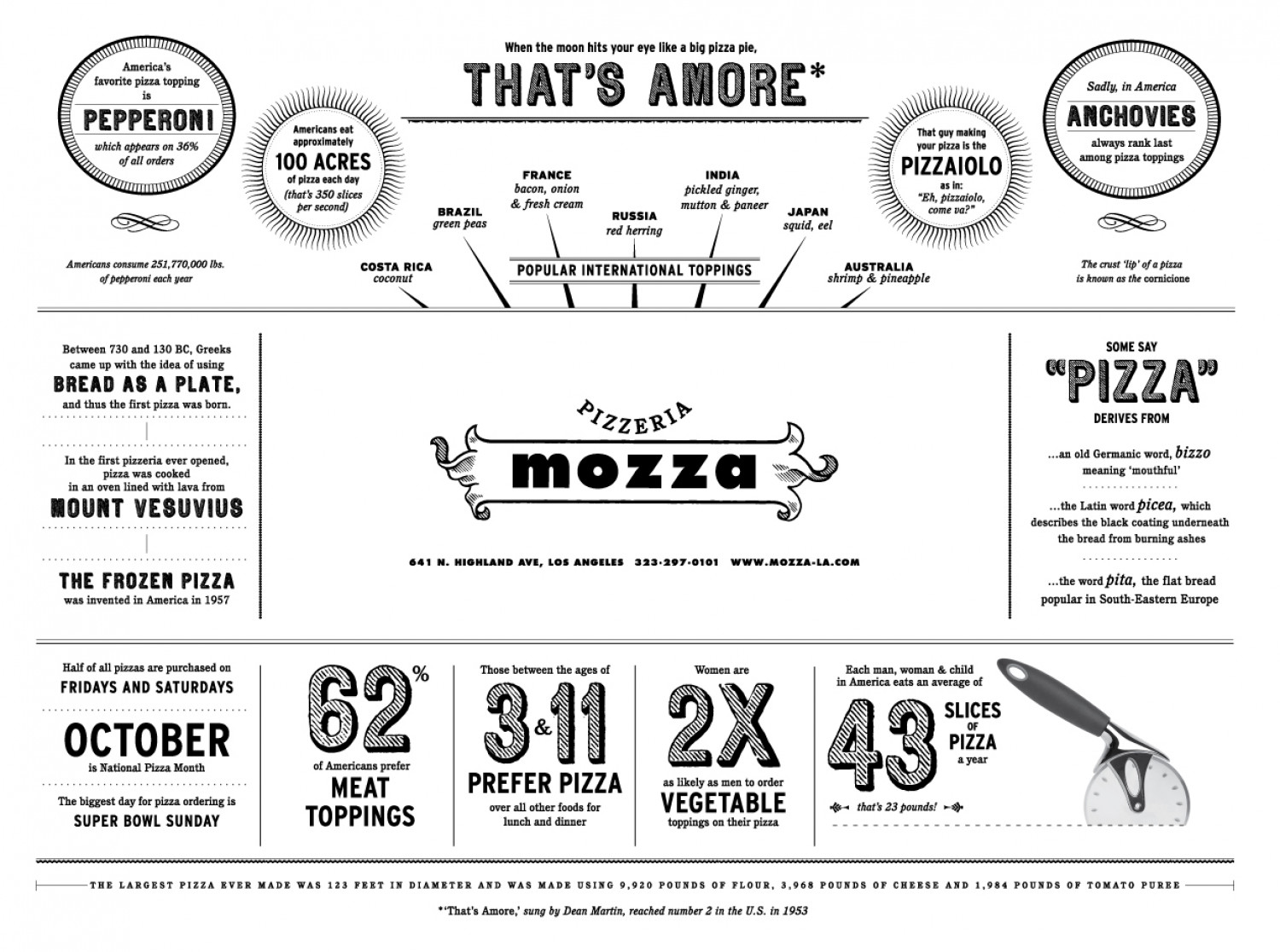 Mozza Pizza Menu: Pizza Facts Infographic