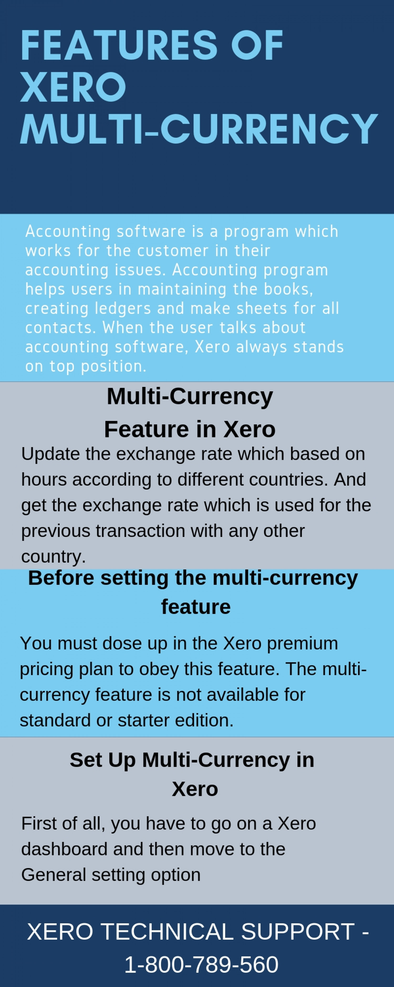 Multicurrency Features and benefits by Xero Technical Support | 1-800-789-560    Infographic