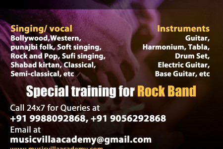 Music Academy in jalandhar provide singing, Guitar, Dance, Tabla, Acting/ Modelling Classes in jalandhar Infographic