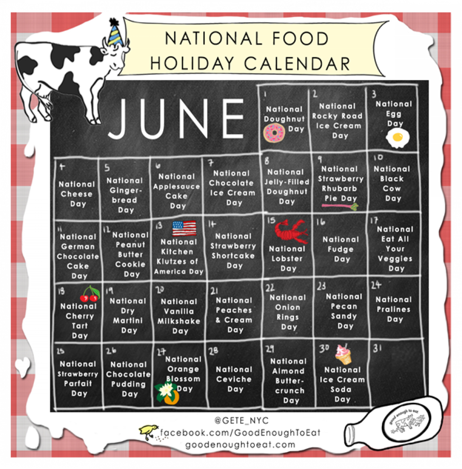 NATIONAL FOOD HOLIDAY CALENDAR - JUNE 2013 Infographic
