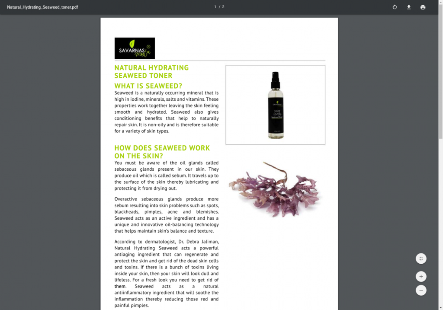 Natural Hydrating Seaweed Toner Shop Online Infographic