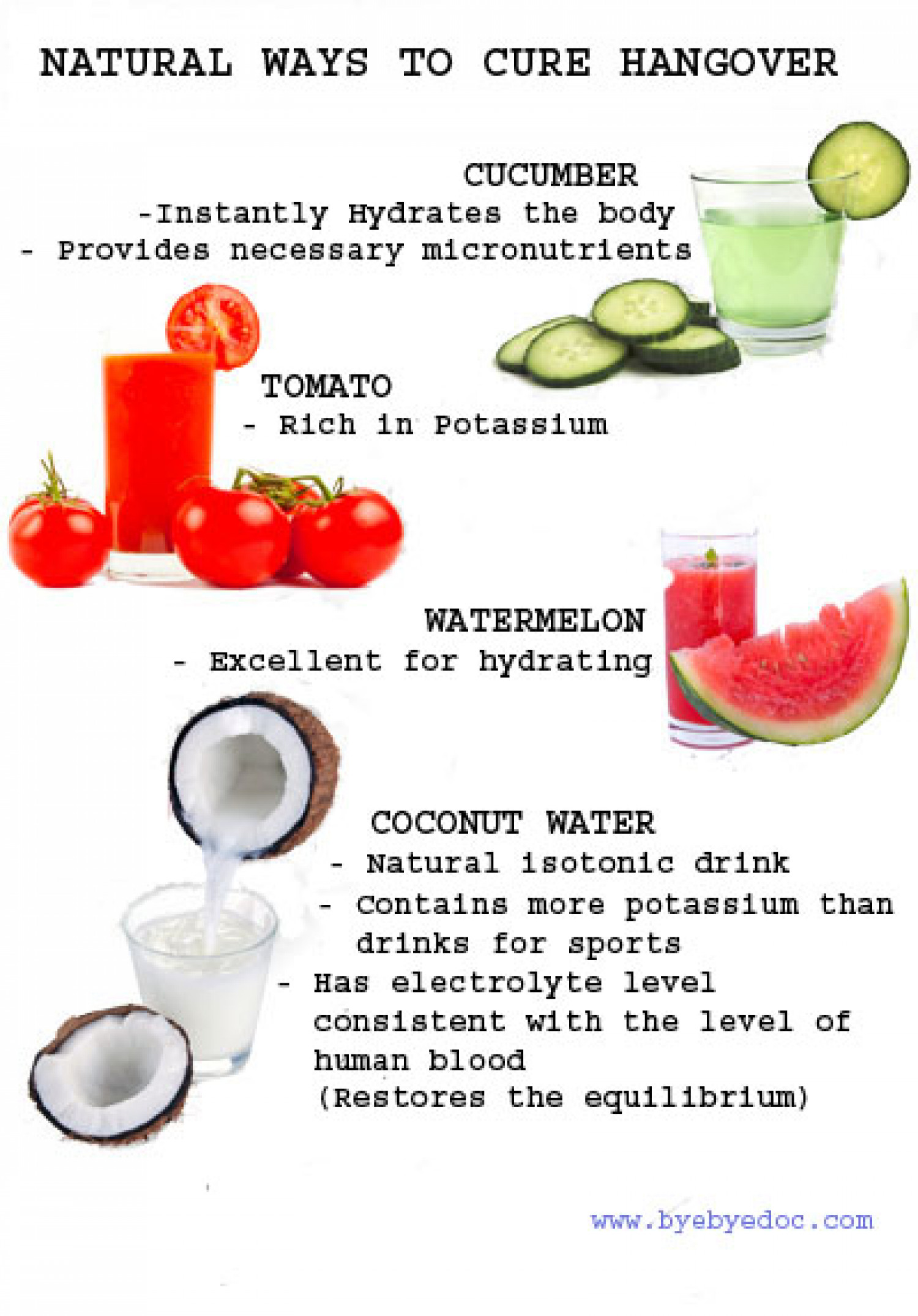 Natural ways to cure hangover Infographic
