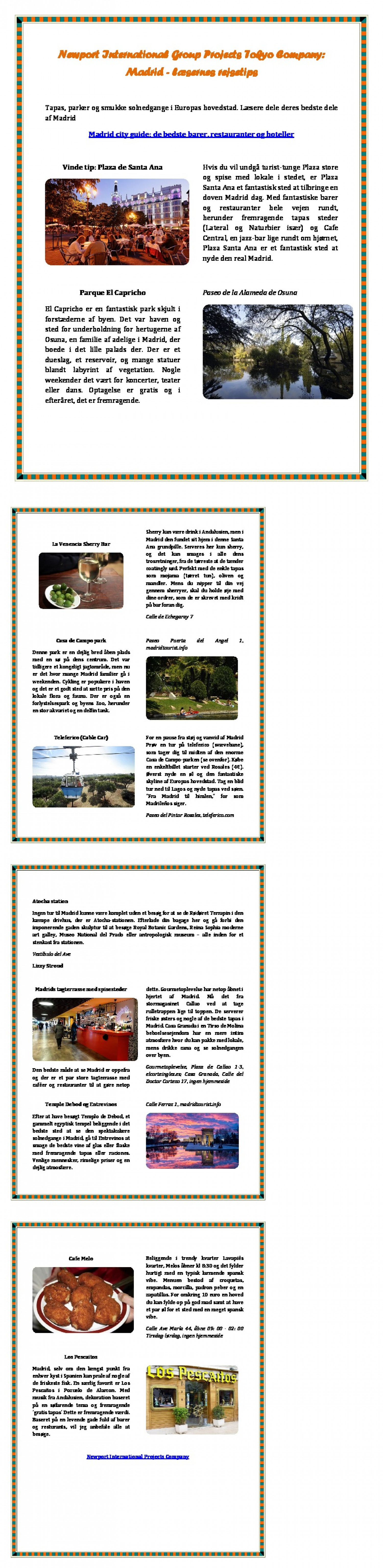 Newport International Group Projects Tokyo Company: Madrid - læsernes rejsetips Infographic