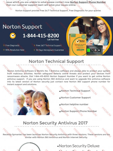 Norton support phone number 1-844-415-8200 USA Infographic