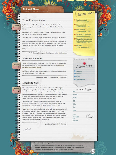 Notepad Chaos: A Free WordPress Theme Infographic