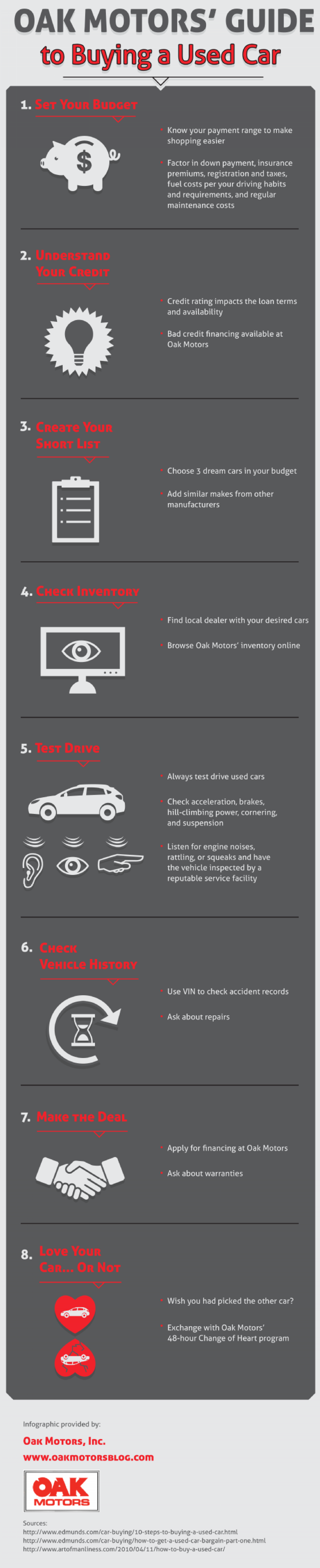 Oak Motors' Guide to Buying a Used Car Infographic