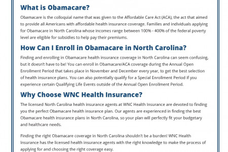 Obamacare in North Carolina Fact Sheet Infographic