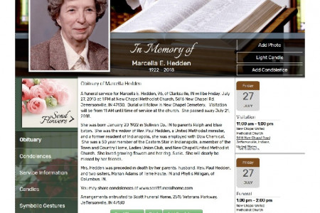 Obituary of Marcella Hedden Funeral Homes Jeffersonville IN Infographic