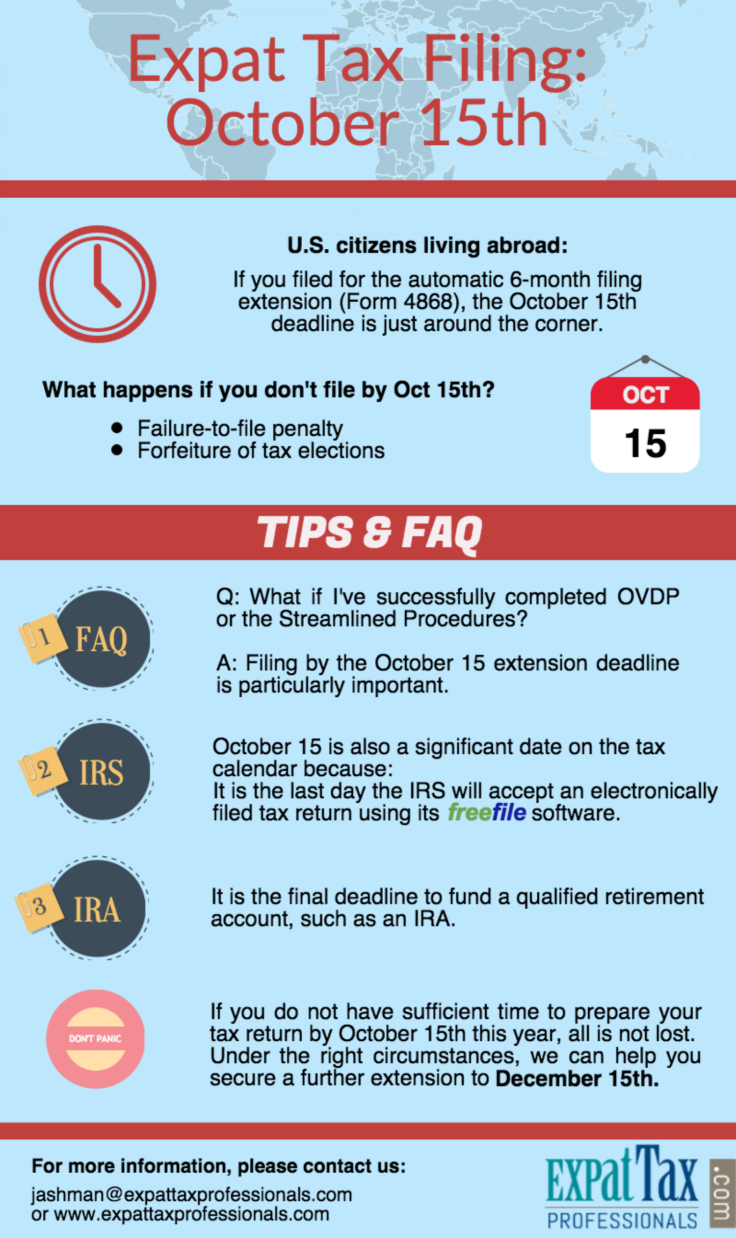 October 15 Tax Deadline for Expats Infographic
