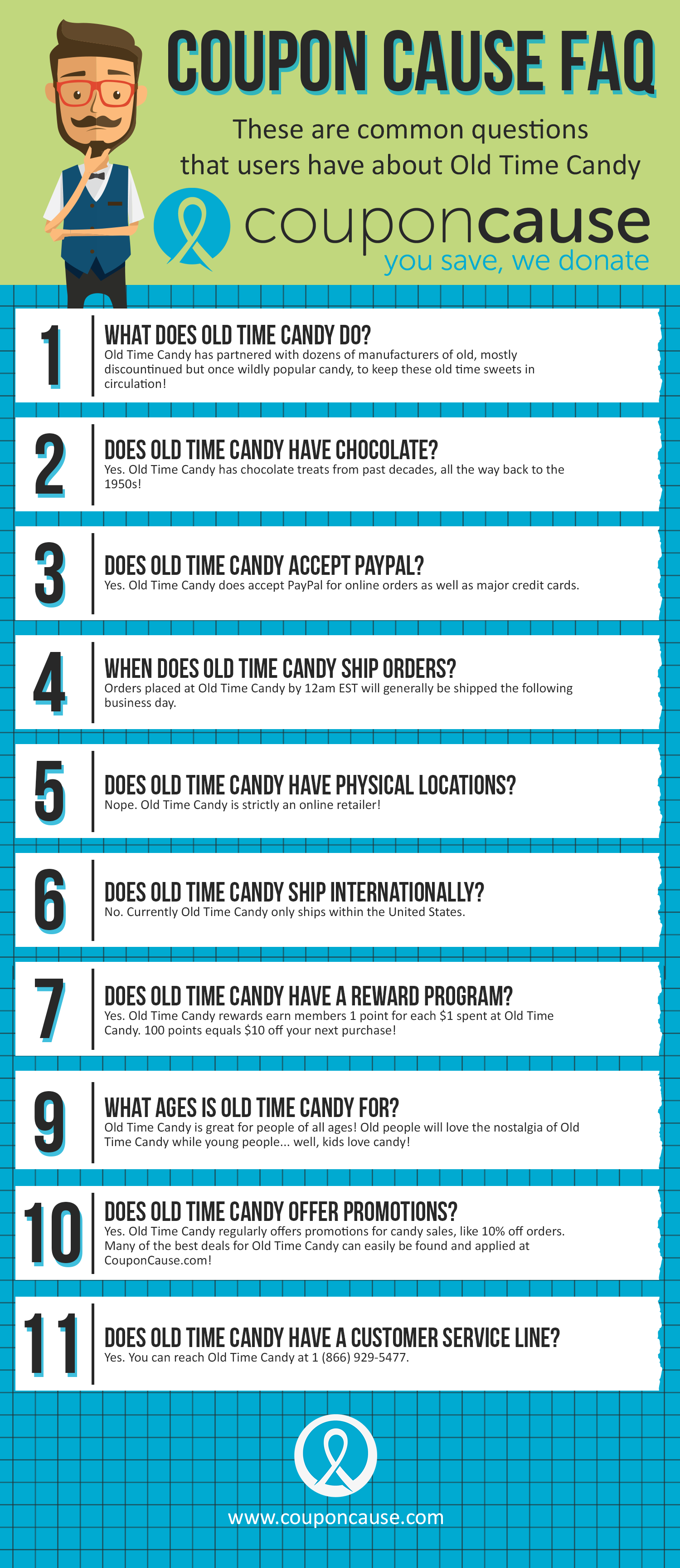 Old Time Candy Coupon Cause FAQ (C.C. FAQ) Infographic