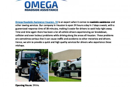 Omega Roadside Assistance Service in Houston Infographic